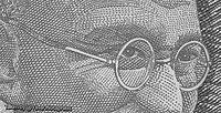 Micro printed texts on Gandhi's spectacles