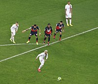 Neymar taking a penalty against Lille during a Ligue 1 match in 2020