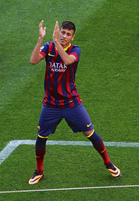 Neymar during his unveiling at Barcelona in June 2013