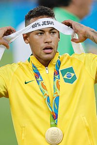 Neymar expresses his Christian faith after winning the gold medal with Brazil at the 2016 Summer Olympics