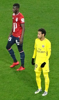 Neymar playing for PSG against Lille in February 2018