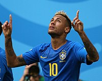 Neymar celebrates scoring against Costa Rica at the 2018 FIFA World Cup
