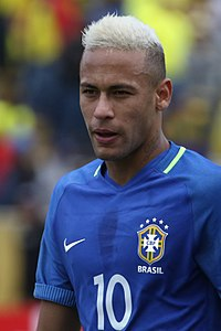Neymar playing for Brazil against Ecuador in 2016, a game where he scored once