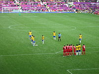 Neymar preparing to take a free-kick against Belarus at Old Trafford during the 2012 Summer Olympics