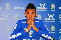 Neymar at a press conference for the Brazil national team in August 2010. He made his international debut that month aged 18.