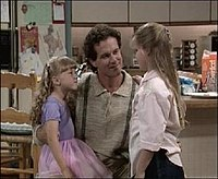John Posey as Danny Tanner in the pilot (shown with Sweetin and Cameron as Stephanie and D.J.)