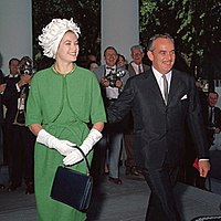 The Prince and Princess of Monaco arrive at the White House for a luncheon, 1961