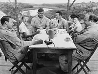 Kelly with the cast of Mogambo (1953) in Nairobi