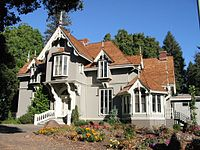 J. Mora Moss House in Mosswood Park was built in 1864 by San Francisco businessman Joseph Moravia Moss in the Carpenter Gothic style. The building houses Parks and Recreation offices and storage.