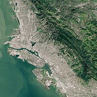 Satellite picture of Oakland in 2019