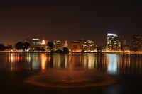 A night view of the Downtown skyline and Lakeside Apartments District as seen from the East 18th Street Pier