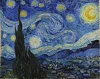 Venus is portrayed just to the right of the large cypress tree in Vincent van Gogh's 1889 painting The Starry Night.