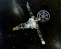 Artist's impression of Mariner 2, launched in 1962, a skeletal, bottle-shaped spacecraft with a large radio dish on top