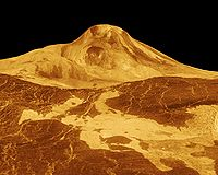 False-colour image of Maat Mons with a vertical exaggeration of 22.5