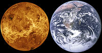 Size comparison showing a representation of Venus (using a false-colour, radar-based image of the surface) compared to Earth