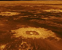 Impact craters on the surface of Venus (false-colour image reconstructed from radar data)