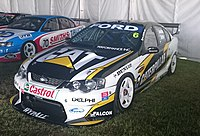 Craig Lowndes and Glenn Seton placed second in the 2004 Bob Jane T-Marts 1000 at Mount Panorama driving this Ford Falcon BA for Ford Performance Racing. The image was taken in 2018.