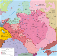 Map of the Kingdom of Poland and the Grand Duchy of Lithuania between 1386 and 1434 showing the Principality of Moldavia as a Polish fief.