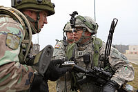 A soldier of the Moldovan Army at the Joint Multinational Readiness Center in Hohenfels, Germany