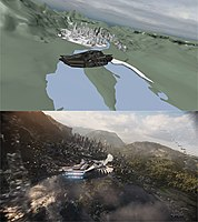Previsualization (top) and completed visual effects shot of Wakanda by Industrial Light & Magic (bottom)