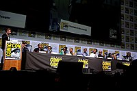 (L:R) Moderator Chris Hardwick, Feige, Coogler, and the cast of Black Panther at the 2017 San Diego Comic-Con