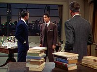 A typical shot from Rope (1948) with James Stewart turning his back to the fixed camera
