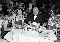 Alma Reville, Joan Harrison, Hitchcock, and Patricia Hitchcock, 24 August 1937