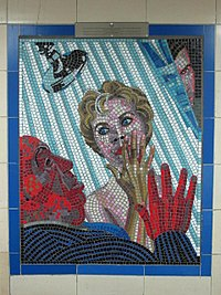 Psycho mosaic in the Hitchcock Gallery at Leytonstone tube station