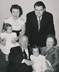 Pat Hitchcock with her daughter Terry and husband Joseph O'Connell, Alma Reville, Mary Alma O'Connell, Alfred Hitchcock (clockwise from top left), c. 1955–1956