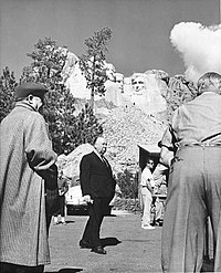 Hitchcock at Mount Rushmore filming North by Northwest (1959)
