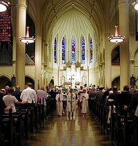 A procession in St. Mary's Episcopal Cathedral, Memphis, Tennessee, in 2002