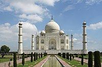 The large charbagh (a form of Persian garden divided into four parts) provides the foreground for the classic view of the Taj Mahal, UNESCO World Heritage Site