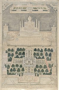 18th-century view of the Taj Mahal complex with the Moonlight garden shown at the top of the page.