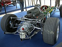 A Ford-Cosworth DFV installed in the back of a Lotus 49