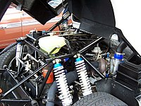 1803 cc BDT on Ford RS200 with turbocharger and wastegate valve more visible than the engine