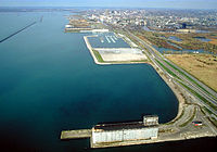 The Buffalo Outer Harbor in 1992. Northwest of the city is the Niagara River.