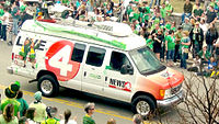 A WIVB-TV truck during St. Patrick's Day