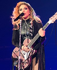 Gaga performing on the Joanne World Tour in 2017