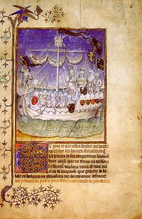 Norman expeditionary ship depicted in the chronicle Le Canarien (1490)