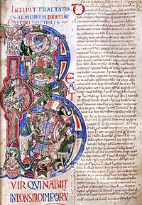 An illuminated manuscript from Saint-Evroul depicting King David on the lyre (or harp) in the middle of the back of the initial 'B'