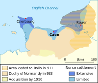 Duchy of Normandy between 911 and 1050. In blue the areas of intense Norse settlement