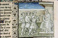 Illuminated manuscript showing king Richard the Lion-hearted authorizing Guy de Lusignan to take Cyprus
