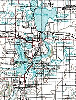 The Iowa Great Lakes located primarily in Dickinson County, in the northwestern section of Iowa near the Minnesota border.