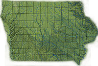 Topography of Iowa, with counties and major streams