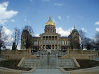 The Iowa State Capitol in Des Moines, completed in 1886, is the only state capitol in the United States to feature five domes, a central golden dome surrounded by four smaller ones. It houses the Iowa General Assembly, comprising the Iowa House of Representatives and Iowa Senate.