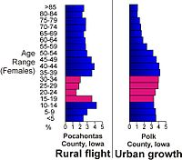 Population age comparison between rural Pocahontas County and urban Polk County, illustrating the flight of young adults (red) to urban centers in Iowa