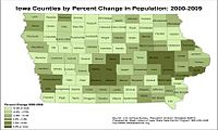Percent population changes by counties in Iowa, 2000–2009. Dark green counties have gains of more than 5%.