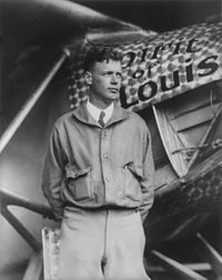 Charles Lindbergh with the Spirit of St. Louis – 1927.