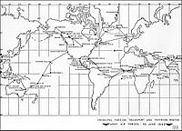 Major trunk air routes of AAF Ferrying Command, June 1942.