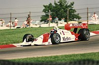Emerson Fittipaldi navigates the Keyhole section of the course in a Penske Racing IndyCar in 1992